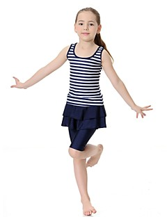 billige Badetøj til piger-Pige Stribet Badetøj, Nylon Lycra Uden ærmer Lyserød Navyblå