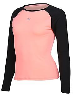 billiga Träning-, jogging- och yogakläder-Dam Rund hals Lappverk T-shirt för jogging - Rosenröd, Rosa, Grå sporter T-shirt Långärmad Sportkläder Snabb tork Oelastisk