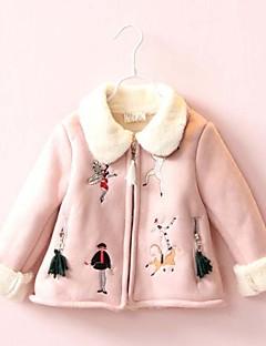 billige Hættetrøjer og sweatshirts til piger-Pige Bluse Ensfarvet, Bomuld Polyester Vinter Langærmet Simple Sødt Blå Lyserød