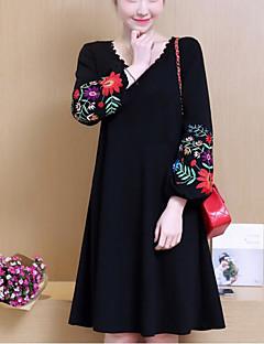 お買い得  レディースドレス-女性用 ランタンスリーブ ルーズ ドレス フラワー Vネック