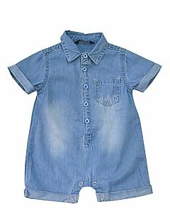 billige Babytøj-Baby Pige En del Afslappet/Hverdag Ensfarvet, Bomuld Sommer Kortærmet Simple Lyseblå