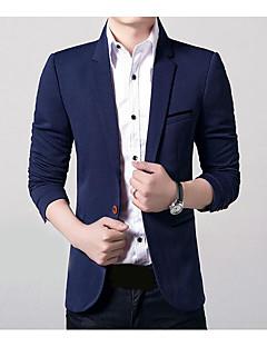 billige Herremote og klær-Polyester Normal Overstørrelse Langt Erme,Skjortekrage Blazer Ensfarget Høst Fritid Daglig Arbeid