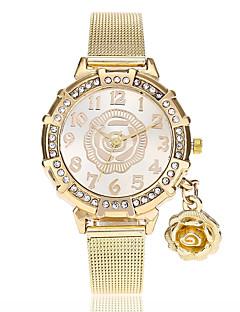 お買い得  フローラルパターン 腕時計-女性用 クォーツ リストウォッチ 中国 模造ダイヤモンド 合金 バンド 花型 カジュアル ファッション ゴールド
