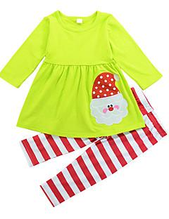 billige Tøjsæt til piger-Pige Tøjsæt I-byen-tøj Ferie Ensfarvet Stribet Patchwork, Bomuld Alle årstider Langærmet Sødt Aktiv Lysegrøn