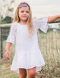 billige Babykjoler-Baby Pigens Kjole Daglig Ensfarvet, Bomuld Hør Bambus Fiber Akryl Forår 3/4-ærmer Simple Hvid