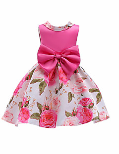 お買い得  子供用ファッション-女の子の クリスマス 誕生日 フラワー カラーブロック コットン ドレス 夏 ノースリーブ キュート カジュアル ルビーレッド フクシャ