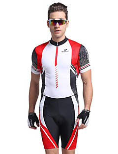 cheap Triathlon Clothing-Nuckily Men's Short Sleeves Tri Suit - Red Geometic Bike Anatomic Design, Ultraviolet Resistant, Breathable, Spring Summer, Polyester