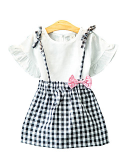 billige Tøjsæt til piger-Pige Tøjsæt Daglig Bomuld Sommer Kortærmet Afslappet Hvid