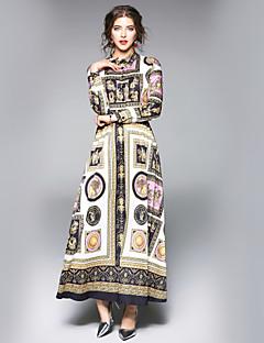 baratos Vestidos de Marca-Mulheres Trabalho Moda de Rua Evasê Vestido Floral Colarinho de Camisa Longo Médio
