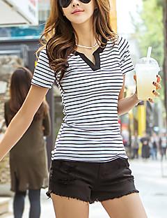 abordables Camisas y Camisetas para Mujer-Mujer Casual Algodón Camiseta, Escote en Pico A Rayas