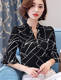 billige Damemode og tøj-V-hals Dame Trykt mønster Skjorte