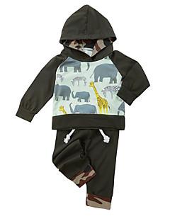 billige Tøjsæt til drenge-Drenge Tøjsæt Daglig Dyretryk Farveblok, Bomuld Forår Langærmet Afslappet Army Grøn