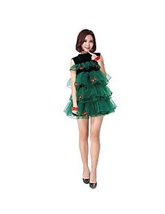 billige julen Kostymer-Nisse drakter Julkjole Dame Jul Festival / høytid Halloween-kostymer Drakter Mørkegrønn Jul Jul