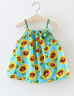 billige Babykjoler-Baby Pige Blomstret Uden ærmer Bomuld