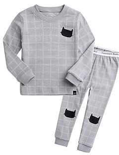 billige Undertøj og sokker til piger-Unisex Nattøj Trykt mønster, Bomuld Langærmet Simple Lyserød Grå