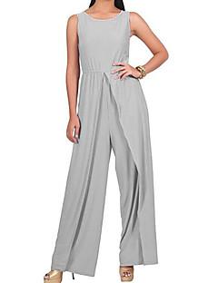 cc372bccb3cc Women s Split Plus Size Holiday   Weekend Sophisticated Gray Purple Khaki  Wide Leg Jumpsuit