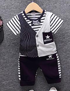 billige Tøjsæt til drenge-Drenge Tøjsæt Daglig Stribet Geometrisk, Bomuld Sommer Halvlange ærmer Seperate Kroppe Navyblå