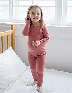 billige Undertøj og sokker til piger-Pige Nattøj Ensfarvet, Bomuld Langærmet Simple Grøn Lyserød Vin