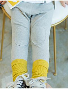 billige Bukser og leggings til piger-Unisex Bukser Ensfarvet, Bomuld Forår Normal Sort Lyserød Grå Gul
