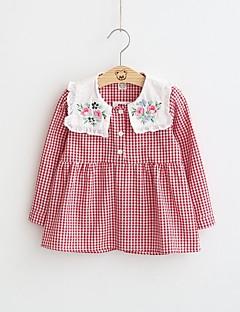 billige Pigekjoler-Pigens Kjole I-byen-tøj Ferie Ruder, Bomuld Polyester Forår Efterår Langærmet Afslappet Sort Rød