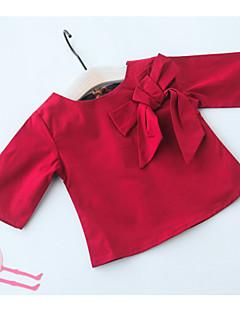 billige Babyoverdele-Baby Pige Skjorte Ensfarvet Langærmet Babydoll & Slips Rød