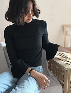 billige T-shirt-Dame - Ensfarvet Bomuld, Drapering T-shirt