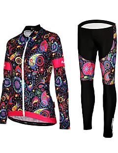 cheap Cycling Jersey & Shorts / Pants Sets-Women's Long Sleeves Cycling Jersey with Tights - Black Floral / Botanical Bike Tights Jersey, Quick Dry, Reflective Strips
