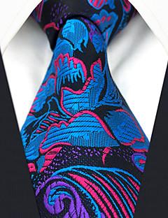 billige Slips og sløyfer-menns festverk rayon slips - floral regnbue jacquard, kryss-cross
