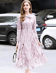 tanie AW 18 Trends-Damskie Wyjściowe Zabytkowe / Wyrafinowany styl Koronkowe Sukienka - Jednolity kolor, Koronka Lejący się dekolt Wysoka Talia Midi / Wiosna / Falbany