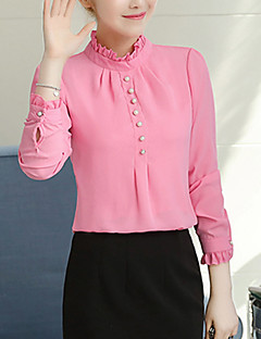 cheap Women's Tops-Women's Polyester Blouse - Solid Stand