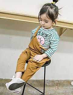 billige Babyunderdele-Baby Pige Overall og jumpsuit Daglig Ensfarvet, Bomuld Uden ærmer Normal Brun Grå