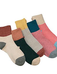 billige Sokker og strømper til damer-Dame Normal Strømper Normal Ensfarget Fargeblokk Lapper Bomull Polyester,5 Regnbue