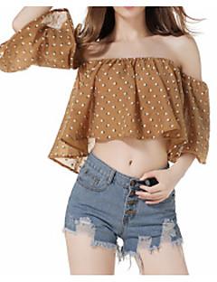 billige Overdele til damer-Dame - Prikker Simple Bluse
