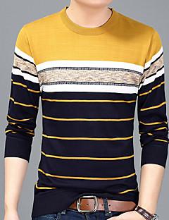 お買い得  メンズファッション&ウェア-男性用 Tシャツ ベーシック ラウンドネック ストライプ