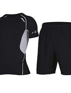 billige Løbetøj-Herre T-shirt og shorts til løb og jogging - Grøn / Sort, Sort+Sølv, Sølv / Sort Sport Shorts / Træningsdragt / Toppe Udendørs Træning,