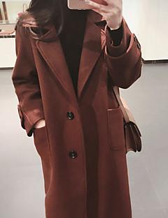 お買い得  レディースコート&トレンチコート-女性用 日常 冬 ロング コート, カジュアル Vネック ソリッド コットン レーヨン アクリル 特大の