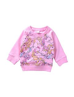 billige Barns Moteklær-Jente Daglig T-skjorte Dyremønster Bomull Modal Alle årstider Vår Langt Erme Søtt Fritid Rosa