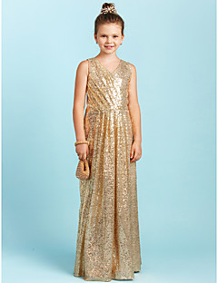 billige Bryllupsbutikken-A-linje / Prinsesse V-hals Gulvlang Paljetter Junior brudepikekjole med Paljett / Plissert av LAN TING BRIDE®