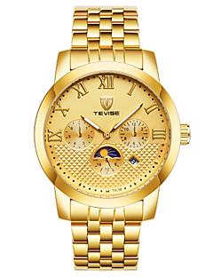 お買い得  ステンレス-男性用 機械式時計 中国 自動巻き 耐水 ステンレス バンド ぜいたく カジュアル クール ブラック 白 シルバー ゴールド