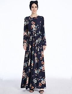 baratos Costumes étnicas e Cultural-Vestido árabe Abaya Vestido Kaftan Mulheres Festival / Celebração Trajes da Noite das Bruxas Roupa Azul Estampado Fashion