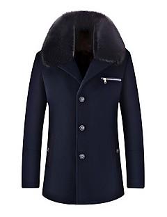 billige Herremote og klær-Ull Normal Langt Erme,Skjortekrage Frakk Ensfarget Vinter Enkel Daglig Herre