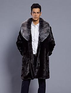 billige Herremote og klær-Fuskepels Lang Pelskanter Langt Erme,Skjortekrage Pelskåpe Leopard Vinter Høst Vintage Fritid Daglig Ut på byen Herre