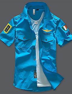 billige Plus Størrelser-Herre-Herre-Geometrisk Trykt mønster Militær Skjorte