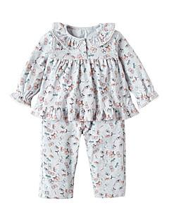 billige Tøjsæt til piger-Pige Tøjsæt Daglig Ensfarvet, Uld Bomuld Bambus Fiber Forår Kortærmet Afslappet Lyserød Lysegrå