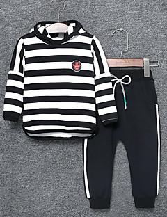 billige Tøjsæt til drenge-Drenge Tøjsæt Daglig Stribet Farveblok, Nylon Forår Efterår Langærmet Afslappet Grøn Sort Rød