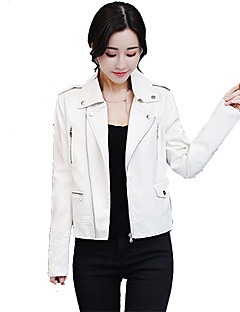 cheap Women's Furs & Leathers-Women's Work Simple Casual Leather Jacket-Solid Colored Shirt Collar
