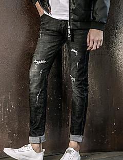 billige Herrebukser og -shorts-Herre Normal Enkel Mikroelastisk Jeans Bukser, Mellomhøyt liv Polyester Ensfarget Vinter