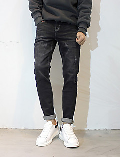 billige Herrebukser og -shorts-Herre Normal Enkel Mikroelastisk Jeans Bukser, Mellomhøyt liv Polyester Ensfarget Vår/Vinter