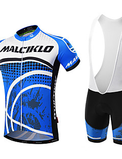 364bc17c0 Malciklo Men s Short Sleeve Cycling Jersey with Bib Shorts - Black Blue    White Dots Bike Clothing Suit Breathable 3D Pad Quick Dry Back Pocket  Sports ...