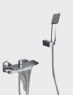 billige Sidesray-Moderne Badekar Og Dusj Foss Utbredt Keramisk Ventil To Huller To Håndtak to hull Krom, Badekarskran